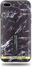 Modeskal med fingerhållare till iPhone 7/8 Plus med ljusa sprickor i mörk marmor