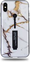 Modeskal med fingerhållare till iPhone X/XS i grått marmor med penseldrag av guld