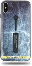 Modeskal med fingerhållare till iPhone X/XS med marmor av djupt hav