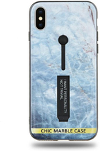 Modeskal med fingerhållare till iPhone X/XS med ljusblått marmor