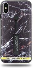 Modeskal med fingerhållare till iPhone X/XS med ljusa sprickor i mörk marmor