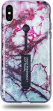 Modeskal med fingerhållare till iPhone X/XS med marmor i blodrött motiv