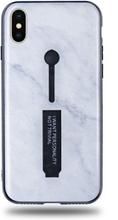 Modeskal med fingerhållare till iPhone X/XS med marmor av djup snö