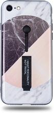 Modeskal med fingerhållare till iPhone 7/8 i grått marmor med olika motiv i cirkel