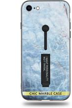 Modeskal med fingerhållare till iPhone 7/8 med ljusblått marmor
