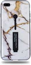 Modeskal med fingerhållare till iPhone 7/8 Plus i grått marmor med penseldrag av guld