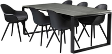 Havemøbelsæt inkl. hynder - Solaima L Plus - Sort/grå