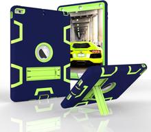 iPad Air Håndværker Cover - Armor Defender Cover m. Fod Blå / Grøn