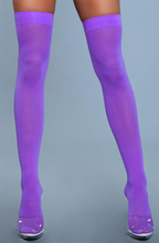 BeWicked Thigh High Nylon Stockings Purple One Size Lila Stay ups