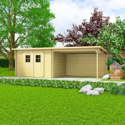 vidaXL bjælkehytte-haveskur massivt træ 28 mm 6,3 x 3 m