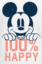 Mickey Mouse - 100% Happy -T-skjorte - hvit