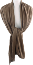 Kasjmier-blend sjaal/omslagdoek in bruin