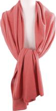 Koraalroze kasjmier-blend sjaal/omslagdoek