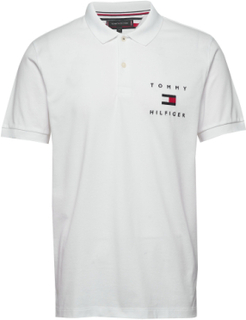 Tommy Flag Hilfiger Reg Polo Polos Short-sleeved Hvid Tommy Hilfiger