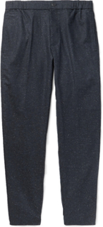 Tapered Donegal Woven Trousers - Navy