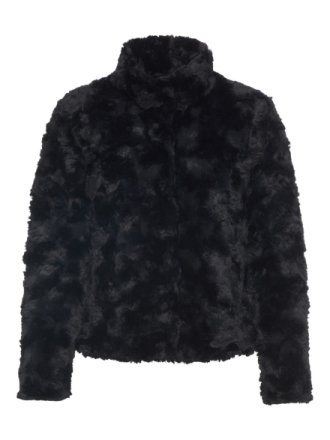 VERO MODA Short Faux Fur Jacket Women Black