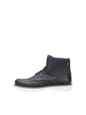 JACK & JONES Leather Winter Boots Men Blue