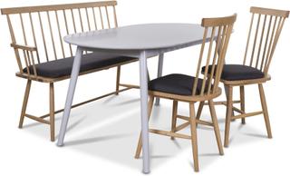 Småland matgrupp - Grått bord med 2 st Småland pinnstolar och 1 st Småland pinnsoffa - Grå / Ek
