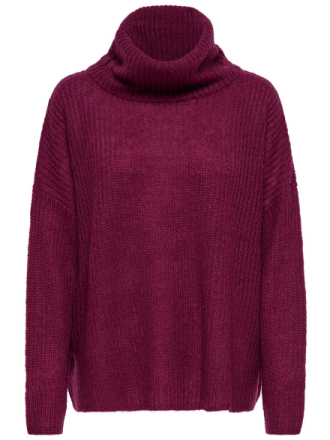 ONLY High Neck Knitted Pullover Women Purple