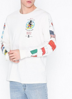 Topman Off White Mickey Mouse Flag T-Shirt Gensere Cream