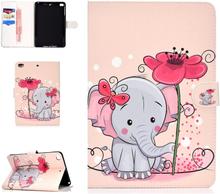 iPad Mini Læder Cover m. Kortholder og Standerfunktion - Elefant og Sommerfugl