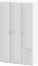 Tvilum Garderob Space 200 (3 dörrar + 3 lådor)-Vit Högglans