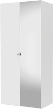 Tvilum Garderob Save 100cm (1 Slätdörr + 1 Spegeldör)-Vit
