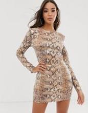 Rare - London - Ormskinnsmönstrad klänning med paljetter och knytning baktill - Flerfärgad