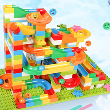 183PCS DIY Construction Marble Race Run Maze Balls Track Children Gaming Building Blocks Toys Compatible With Legoes Duploes