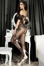 H3156-1 Open Crotch Rose Pattern Lace Body Stockings