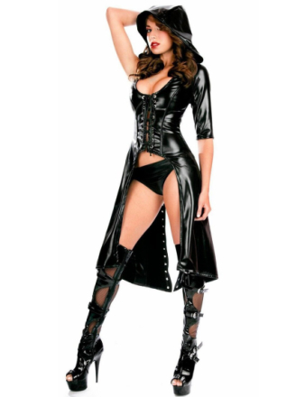 R80360 Gothic Punk Wetlook Hooded Coat Gown Dress