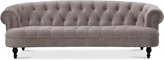 Chesterfield Oxford 3-sits svängd soffa - Ljusgrå sammet