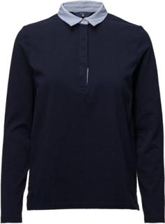 O1. Heavy Rugger Jersey & Woven Mix T-shirts & Tops Polo-Skjorta Svart GANT