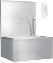 vidaXL håndvask med vandhane og sæbedispenser rustfrit stål