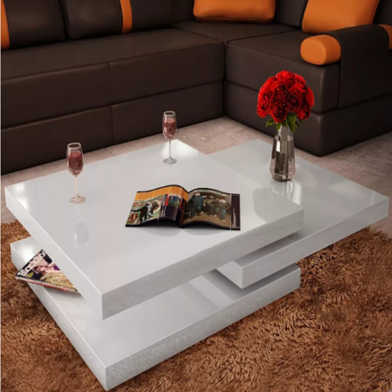 vidaXL Coffee Table Side Tables Furniture 3 Tiers Living Room Mesas De Centro Coffee Table High Gloss White Coffee Table Modern
