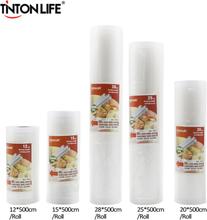 TINTON LIFE Kitchen Food Vacuum Bag Storage Bags For Vacuum Sealer Food Fresh Long Keeping 12+15+20+25+28cm*500cm 5 Rolls/Lot