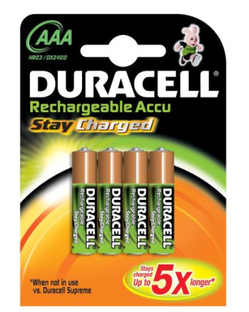 Duracell StayCharged Oppladbare AAA Ni-MH Batterier - 4 stk.