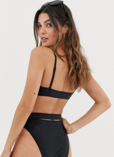 Miss Selfridge Exclusive cami bikini top with knot front in black