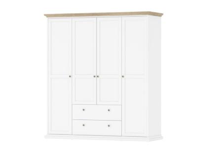 Tvilum Garderob Paris 4 dörrar + 2 lådor-Vit/Ek