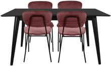 Essgruppe | Esstisch Schwarz mit 4 Samt Stühlen Rosa - Nora & Rose
