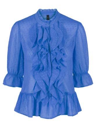 Y.A.S Flounce Transparent Blouse Women Blue