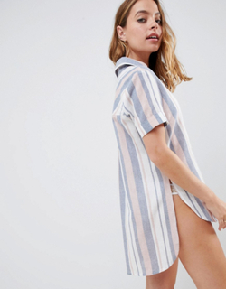 Vævet strandskjorte med striber fra ASOS DESIGN Petite-Multifarvet