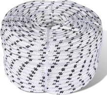 vidaXL Båtlina flätad 6 mm x 250 m polyester vit