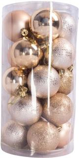 Julekugler - Rosa guld - Pakke med 20 stk. Måler 6 cm i diameter
