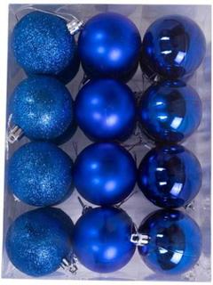 Julekugler - Blå - Pakke med 24 stk. Måler 6 cm i diameter