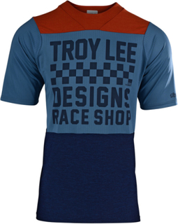 Troy Lee Designs Skyline Air SS Jersey Herre checkers/heather clay/cadet M 2019 Downhill-trøyer