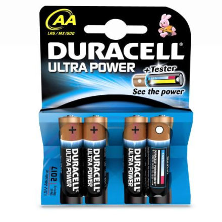 Duracell Ultra Power AA Alkaline Batterier - 4 stk.