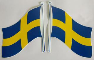 svenska flaggan. 2 st dekaler stickers för husvagn/bil/båt m.m