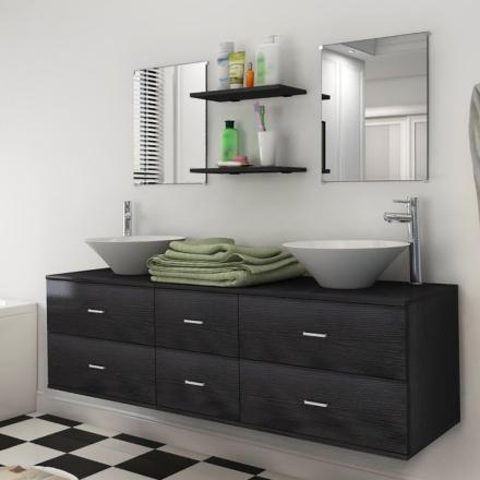 vidaXL badeværelsesmøbelsæt 7 dele sort