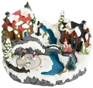 Mekanisk julelandskab - Skøjtebane, huse og sø 25x20x17cm